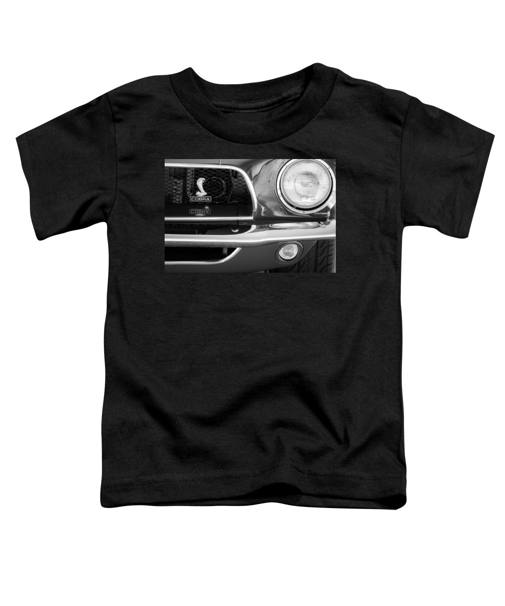 1968 Ford Mustang Fastback 427 Ci Cobra Grille Emblem Toddler T-Shirt featuring the photograph 1968 Ford Mustang Fastback 427 Ci Cobra Grille Emblem by Jill Reger