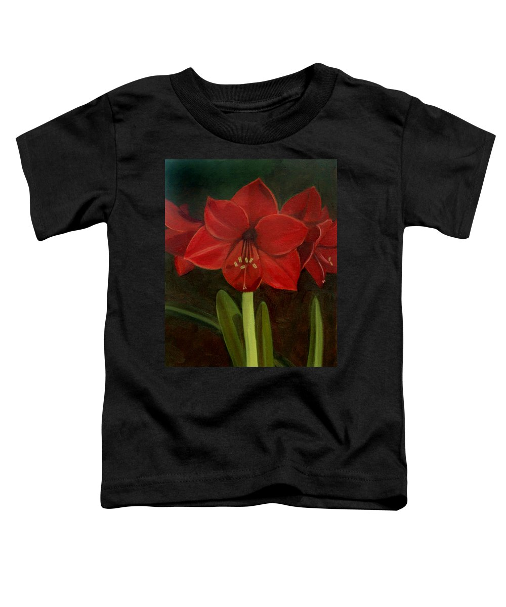 Amaryllis Toddler T-Shirt featuring the painting Amaryllis by Nancy Griswold
