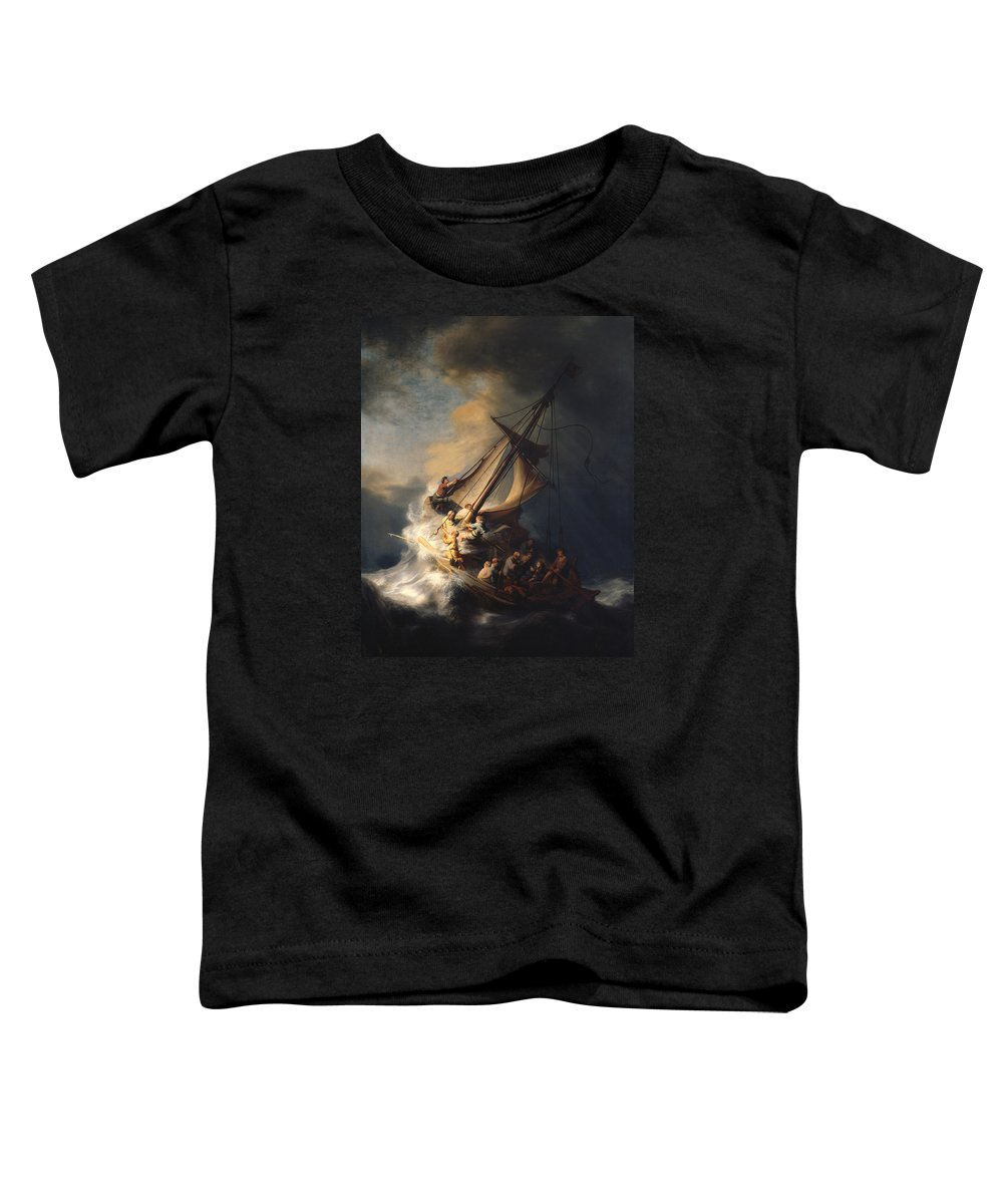 Rembrandt Van Rijn Toddler T-Shirt featuring the painting Christ In The Storm On The Sea Of Galilee by Rembrandt Van Rijn