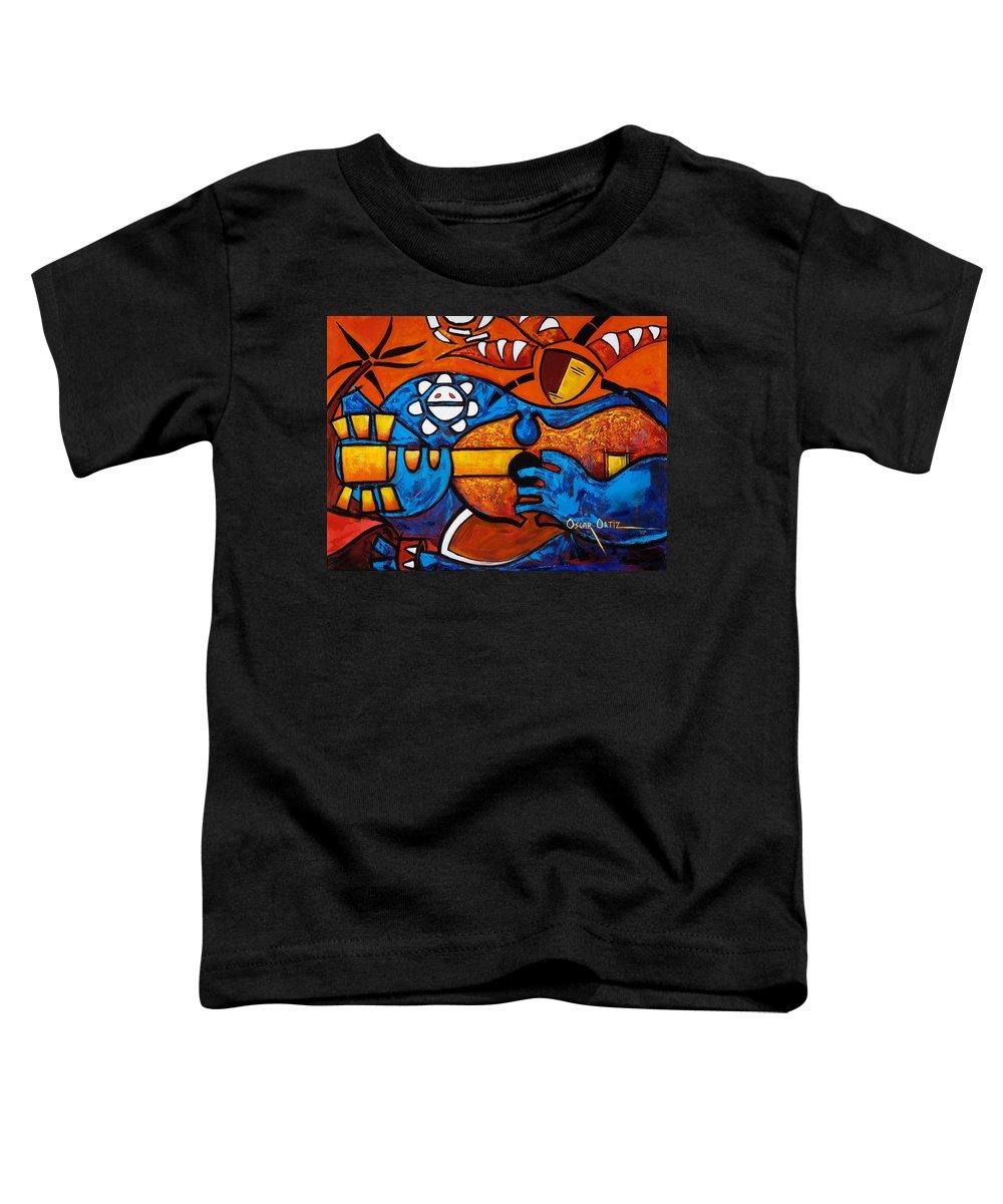 Puerto Rico Toddler T-Shirt featuring the painting Cuatro En Grande by Oscar Ortiz