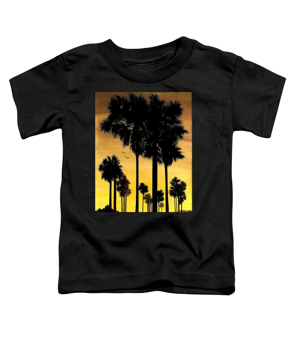 San Diego Sunset Toddler T-Shirt featuring the painting San Diego Sunset by Larry Lehman