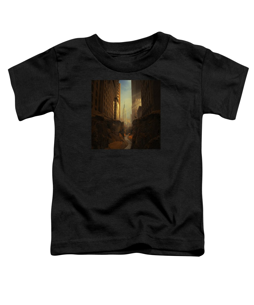City Ruins Apocalypse Buildings Sun Animal Sunbeams Abandoned Ny Landscape Photomontage Rocks Loneliness Creek Walls Birds Sciencefiction Fantasy Newyork Warm Shadows Nature Architecture Photomontage Photomanipulation Toddler T-Shirt featuring the photograph 2146 by Michal Karcz