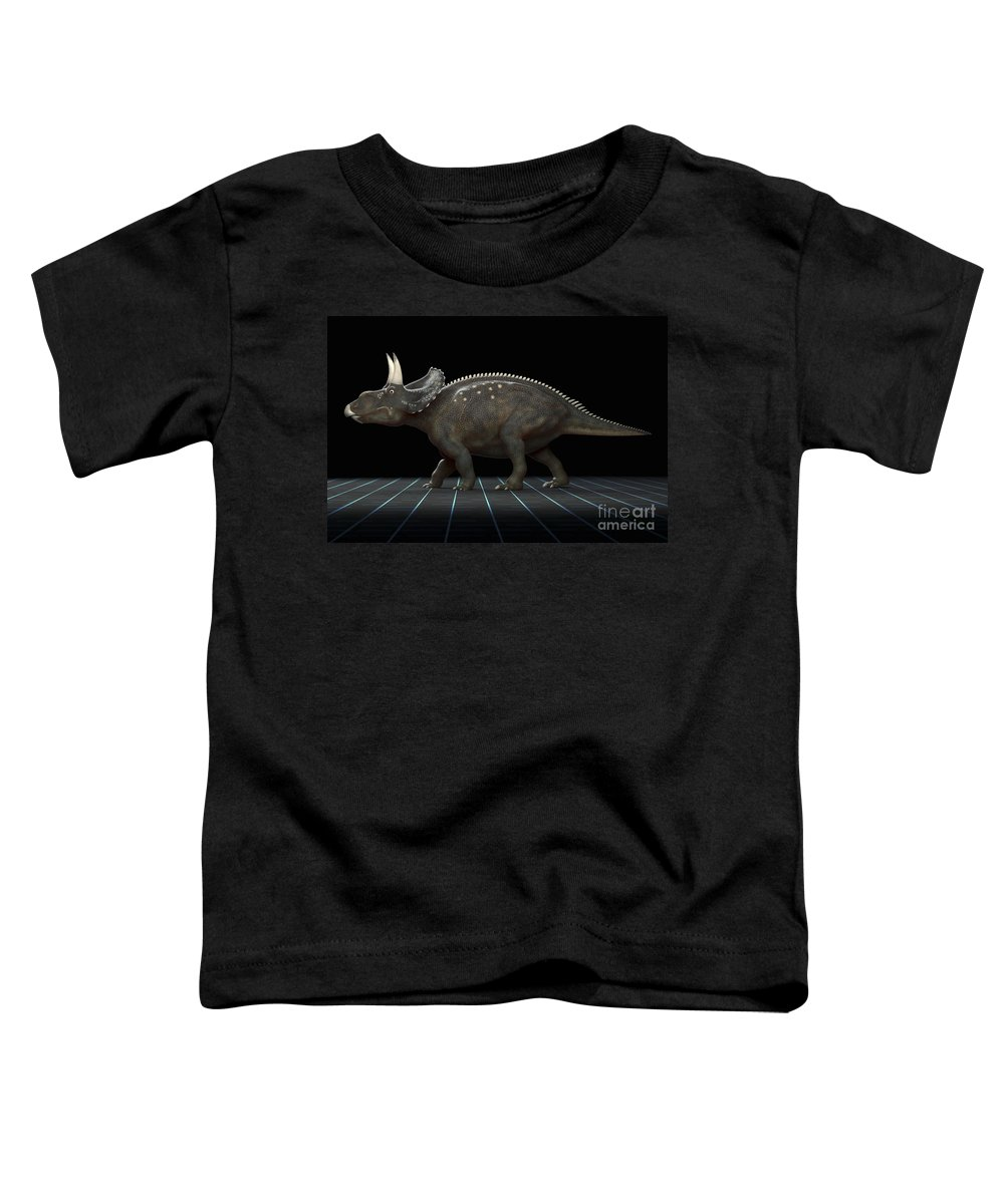 Digitally Generated Image Toddler T-Shirt featuring the photograph Dinosaur Diceratops by Science Picture Co