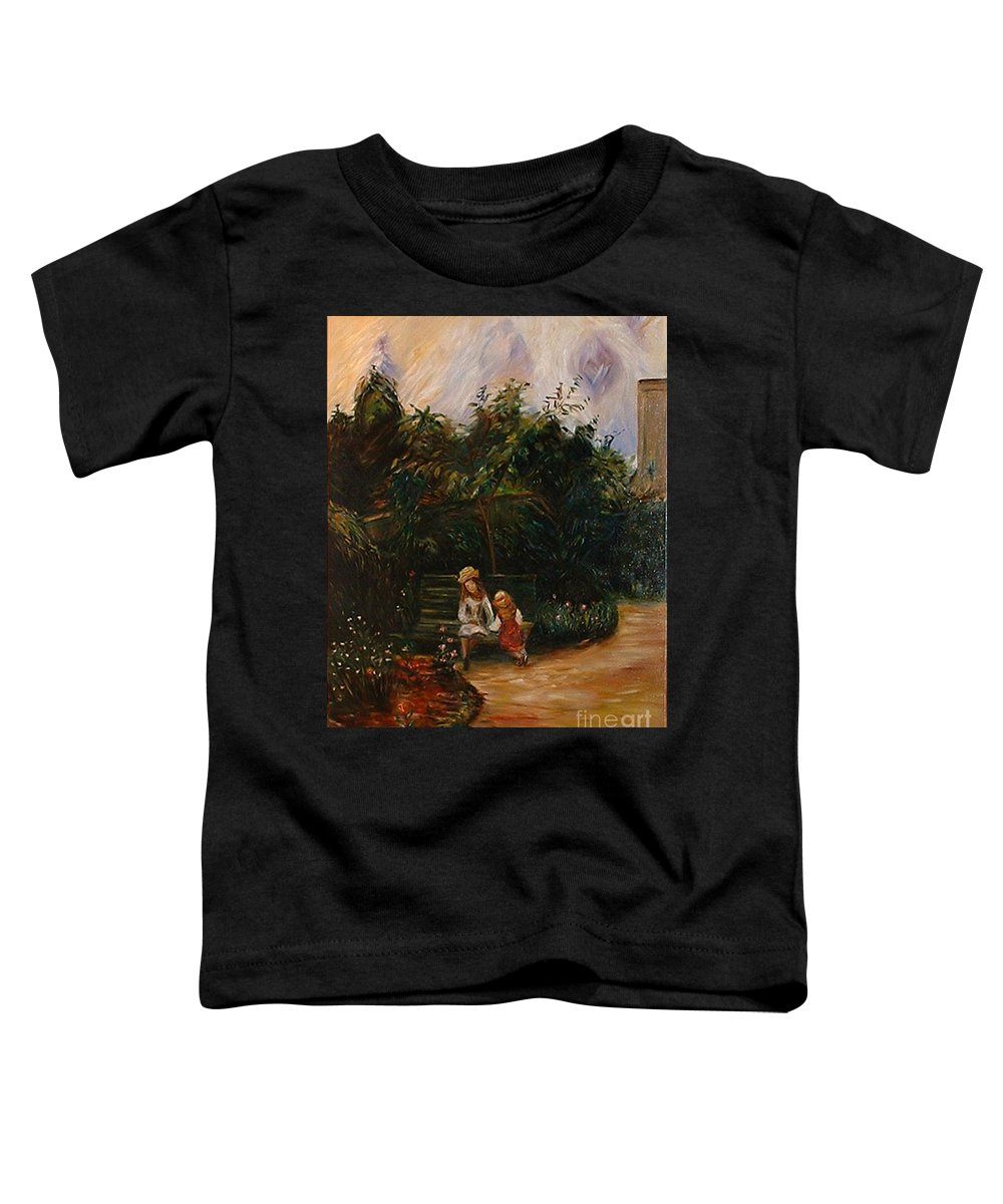 Classic Art Toddler T-Shirt featuring the painting A Corner Of The Garden At The Hermitage by Silvana Abel
