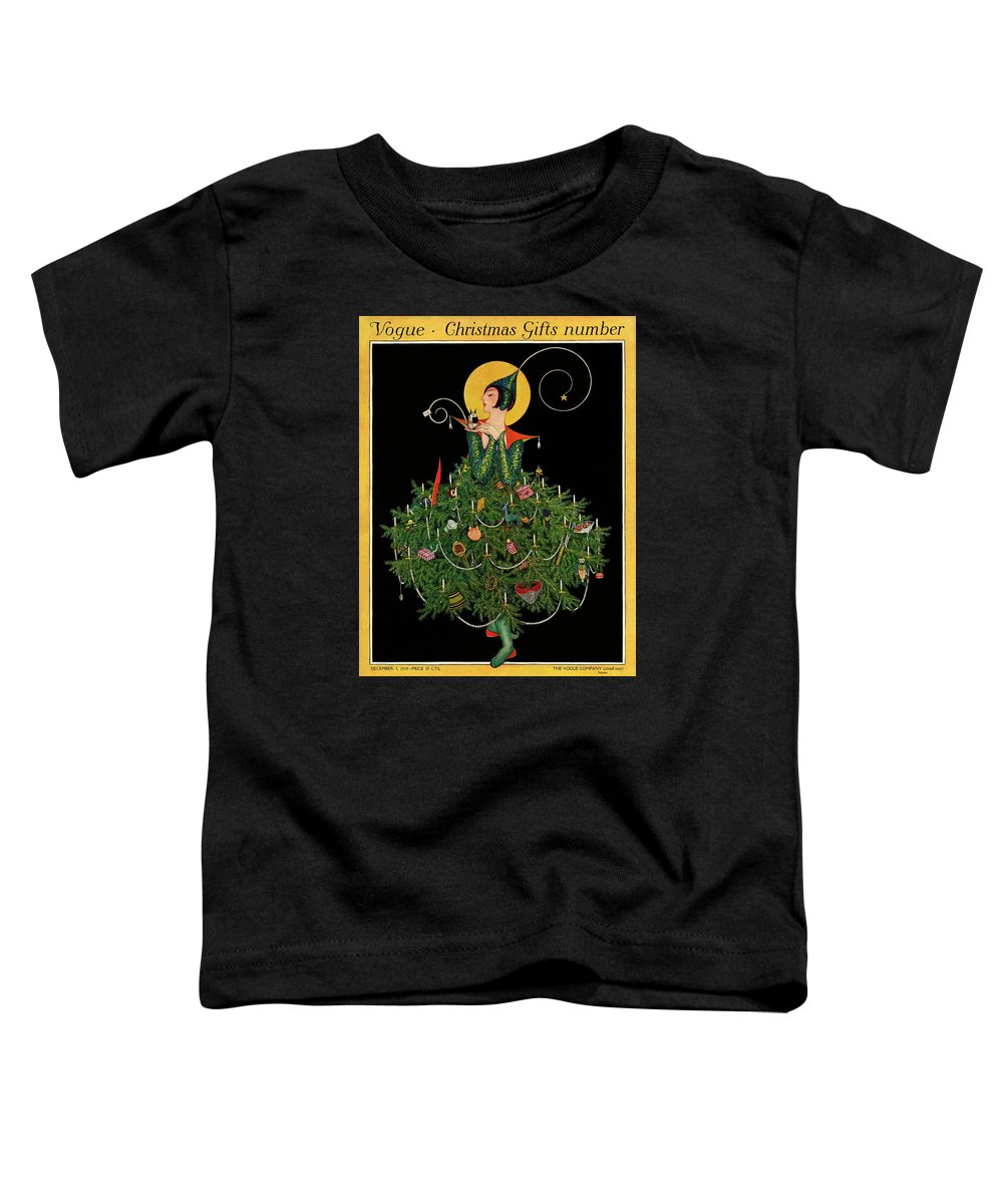 Illustration Toddler T-Shirt featuring the painting A Woman Dressed As A Christmas Tree by Artist Unknown