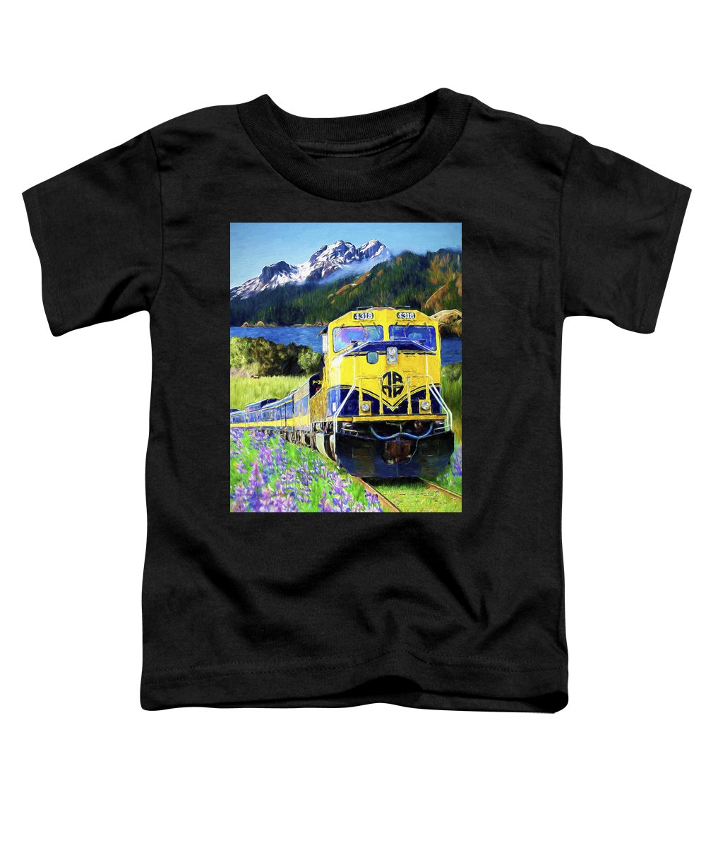 Railroad Toddler T-Shirt featuring the painting Alaska Railroad by David Wagner
