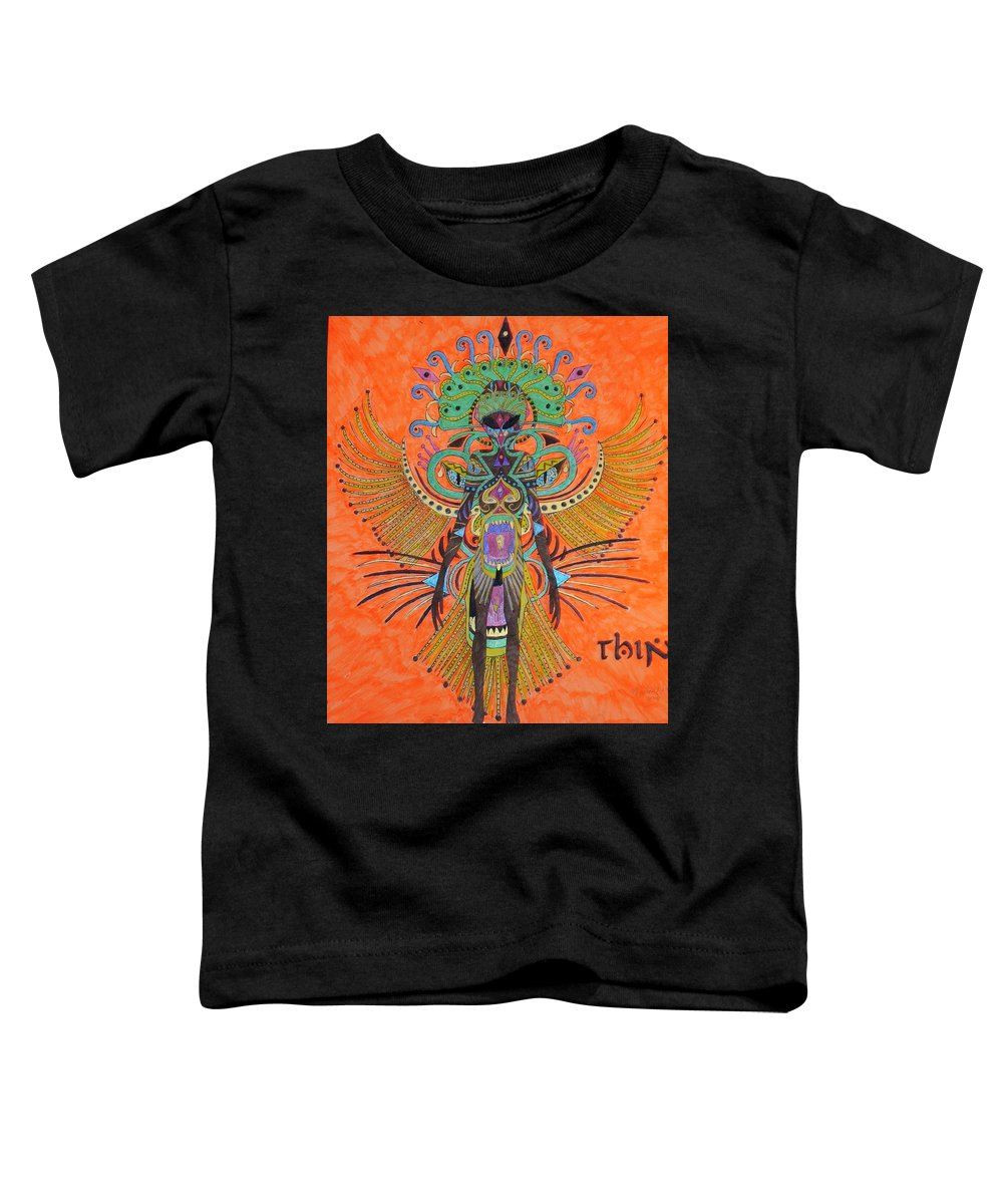 Alien Toddler T-Shirt featuring the painting Alien With Thing by Michael Pasko