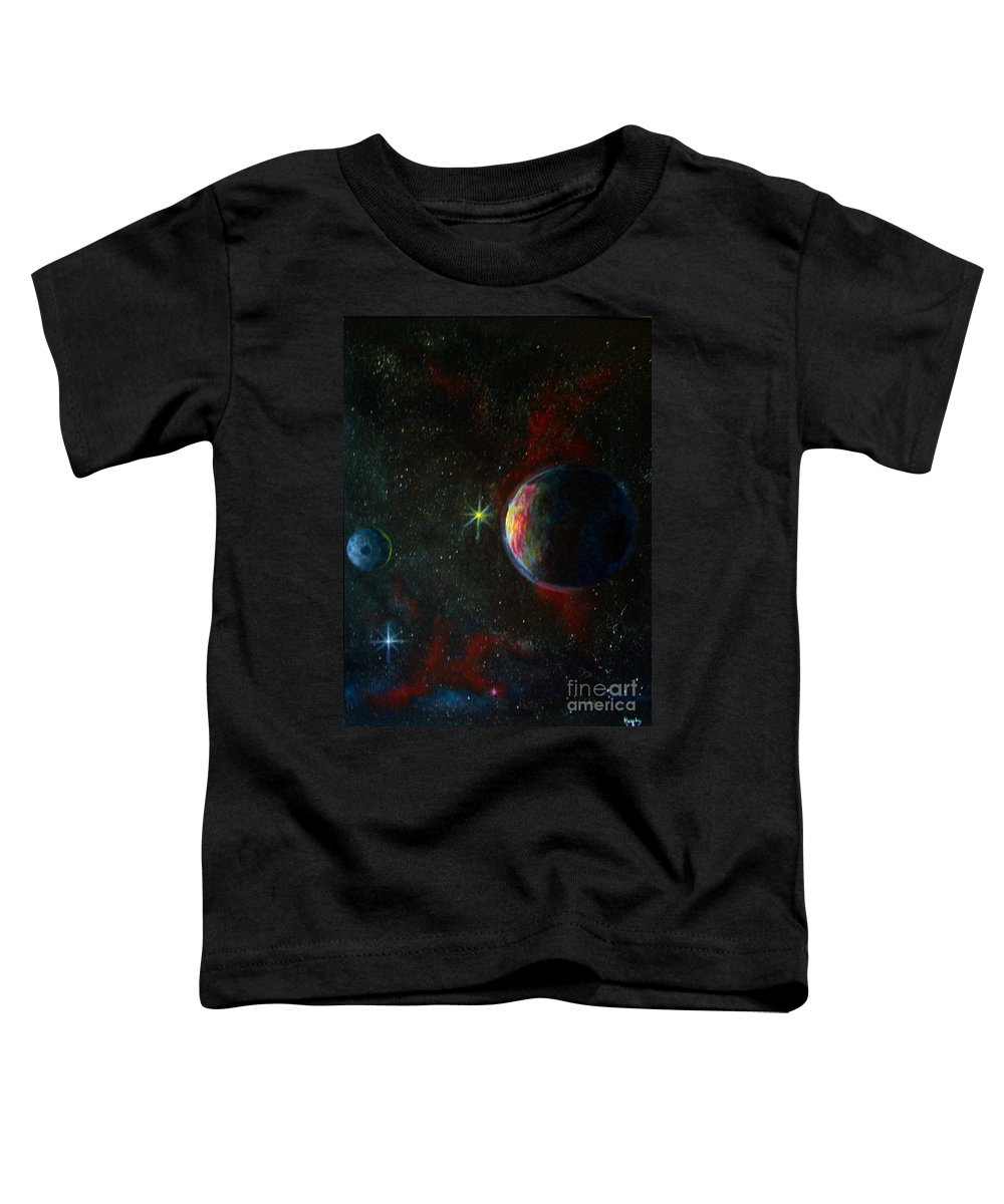 Cosmos Toddler T-Shirt featuring the painting Alien Worlds by Murphy Elliott