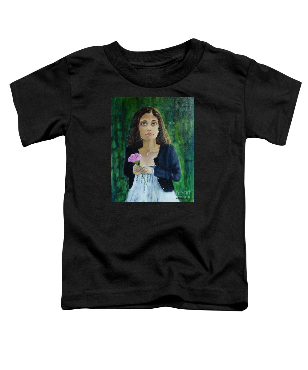Portrait Toddler T-Shirt featuring the painting Aly by Laurie Morgan