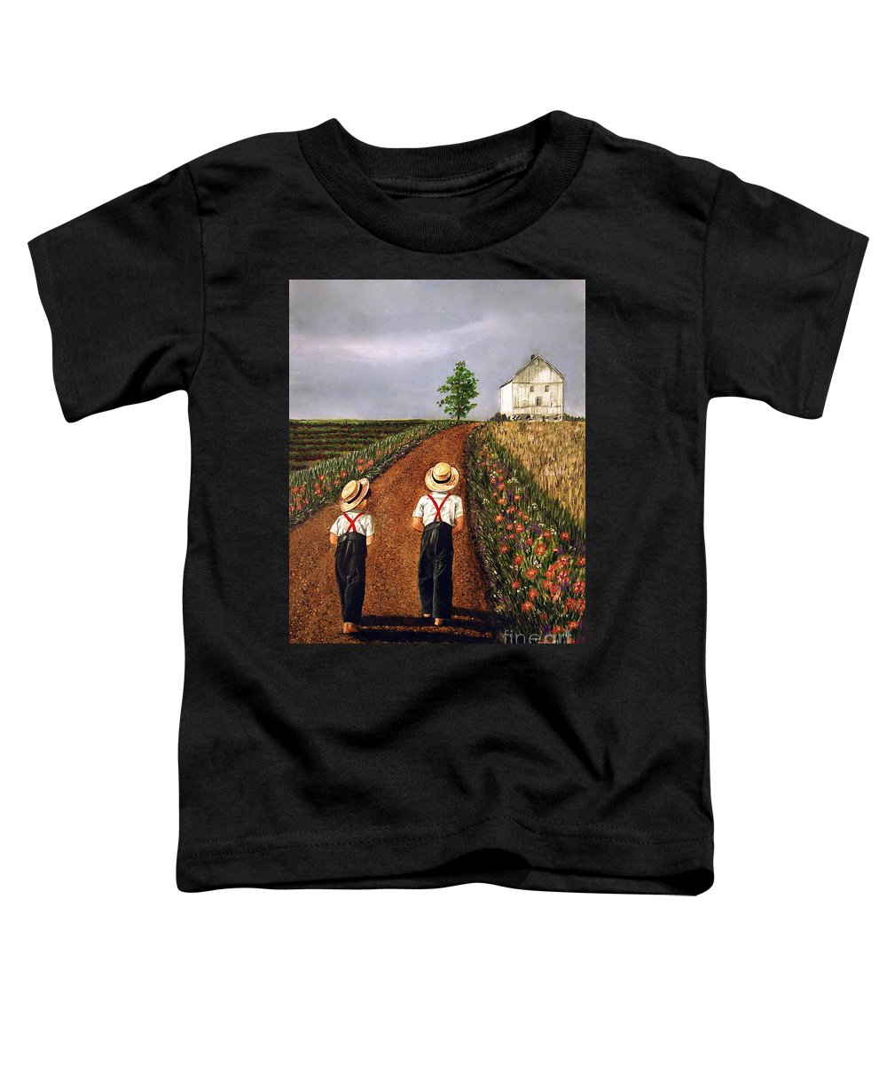 Lifestyle Toddler T-Shirt featuring the painting Amish Road by Linda Simon
