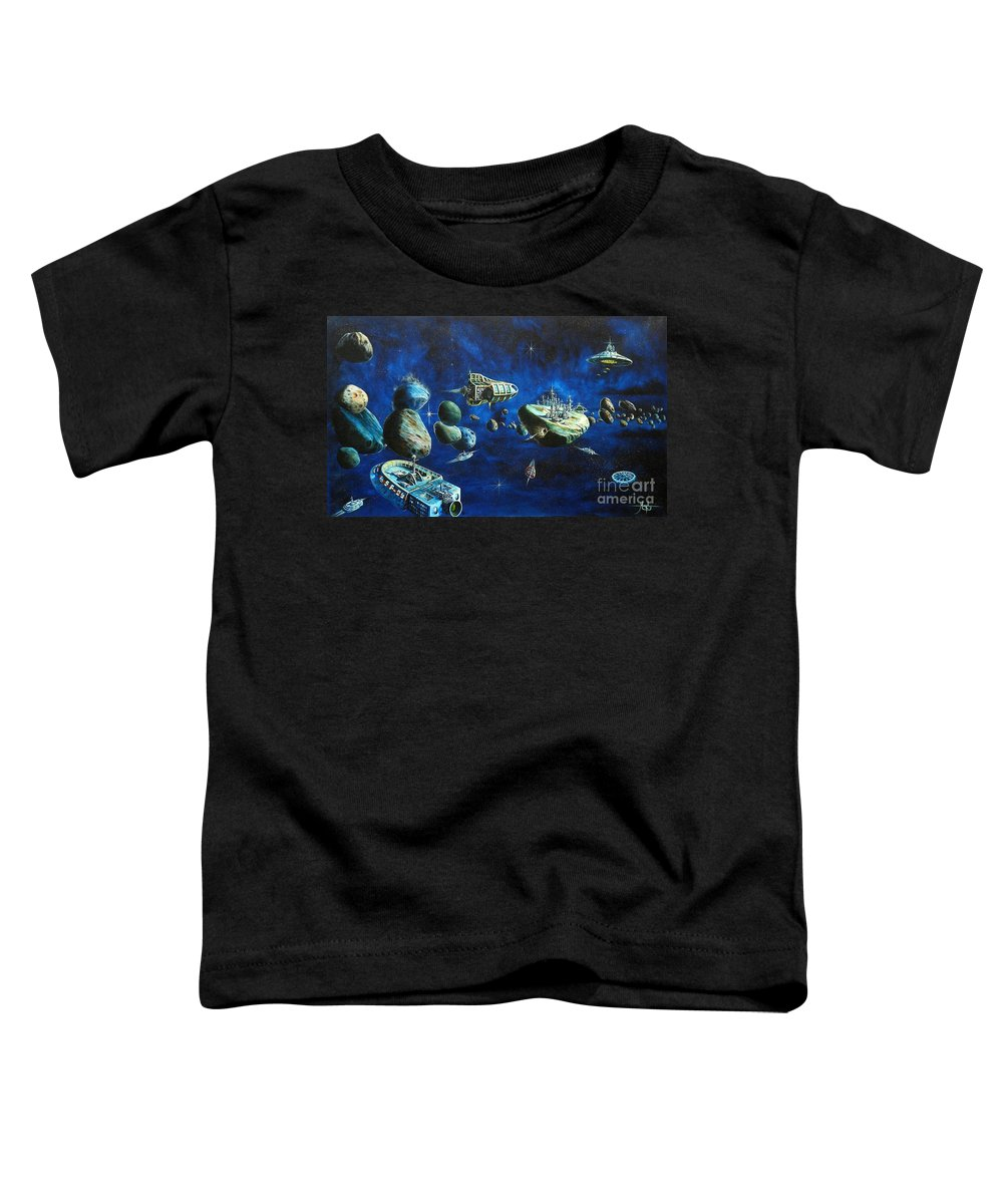 Fantasy Toddler T-Shirt featuring the painting Asteroid City by Murphy Elliott