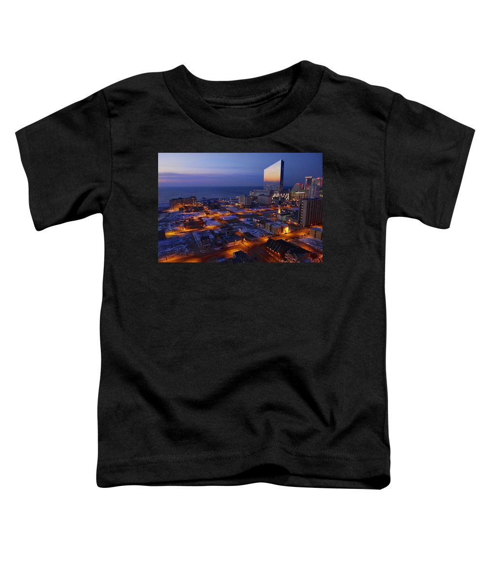 Atlantic City At Dawn Toddler T-Shirt featuring the photograph Atlantic City At Dawn by Joan Reese