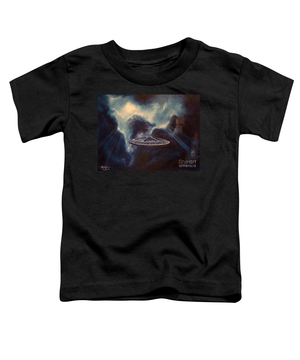 Si-fi Toddler T-Shirt featuring the painting Atmospheric Arrival by Murphy Elliott