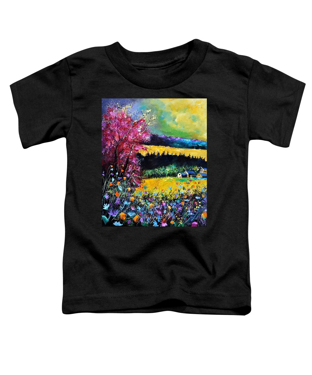 Landscape Toddler T-Shirt featuring the painting Autumn Flowers by Pol Ledent