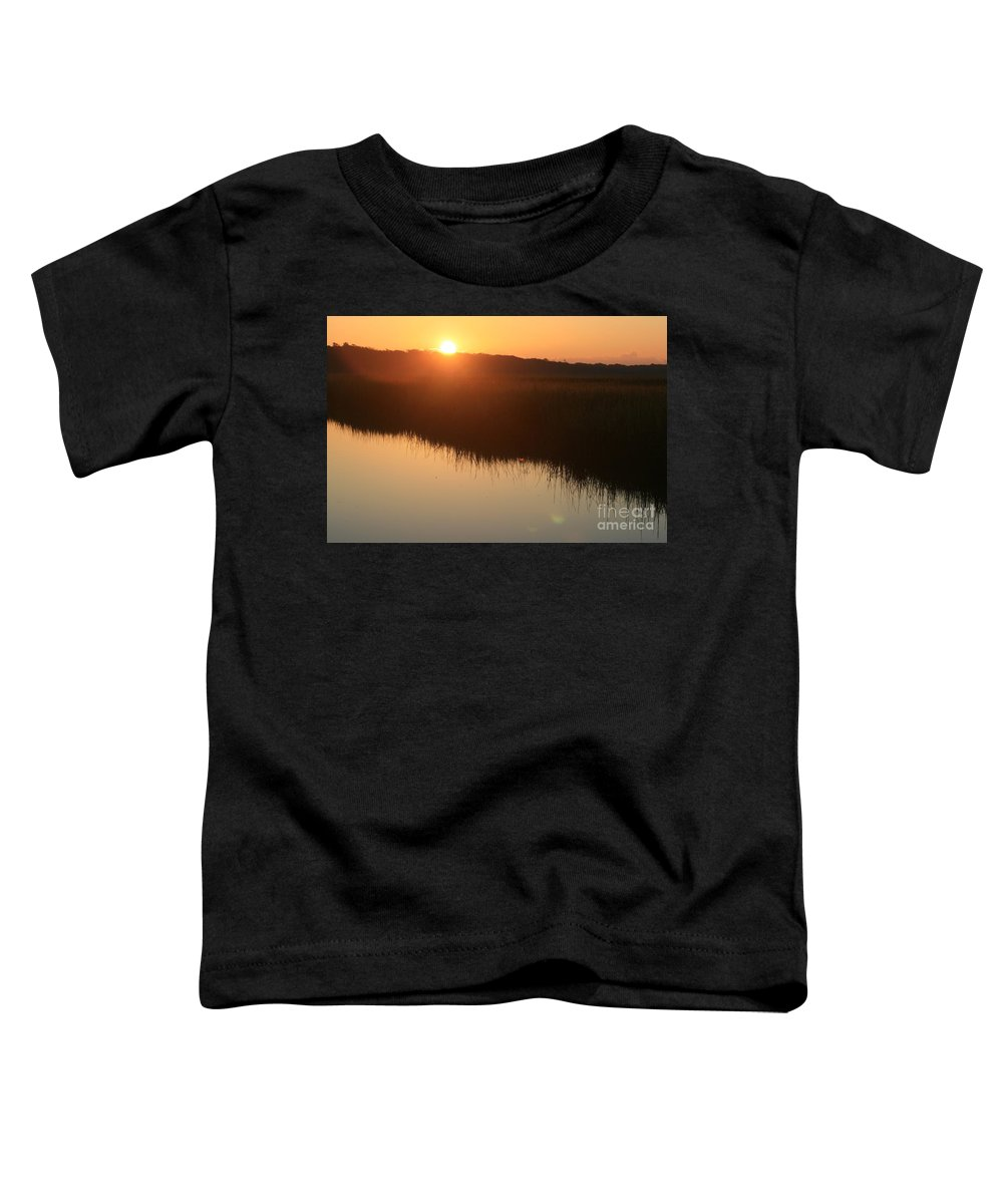 Sunrise Toddler T-Shirt featuring the photograph Autumn Sunrise Over The Marsh by Nadine Rippelmeyer
