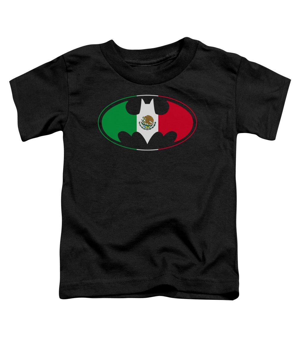Batman Toddler T-Shirt featuring the digital art Batman - Mexican Flag Shield by Brand A