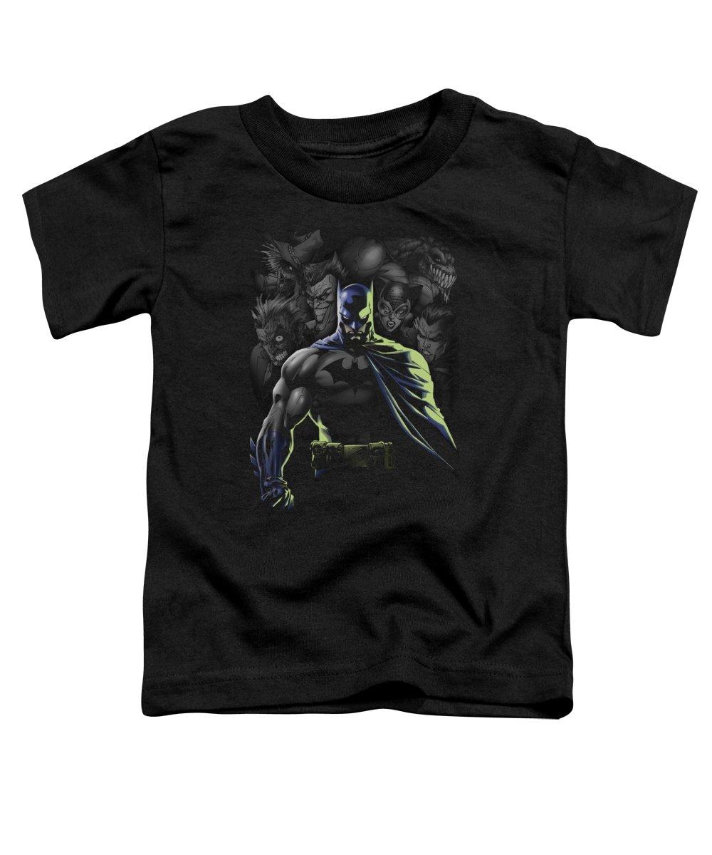 Batman Toddler T-Shirt featuring the digital art Batman - Villains Unleashed by Brand A