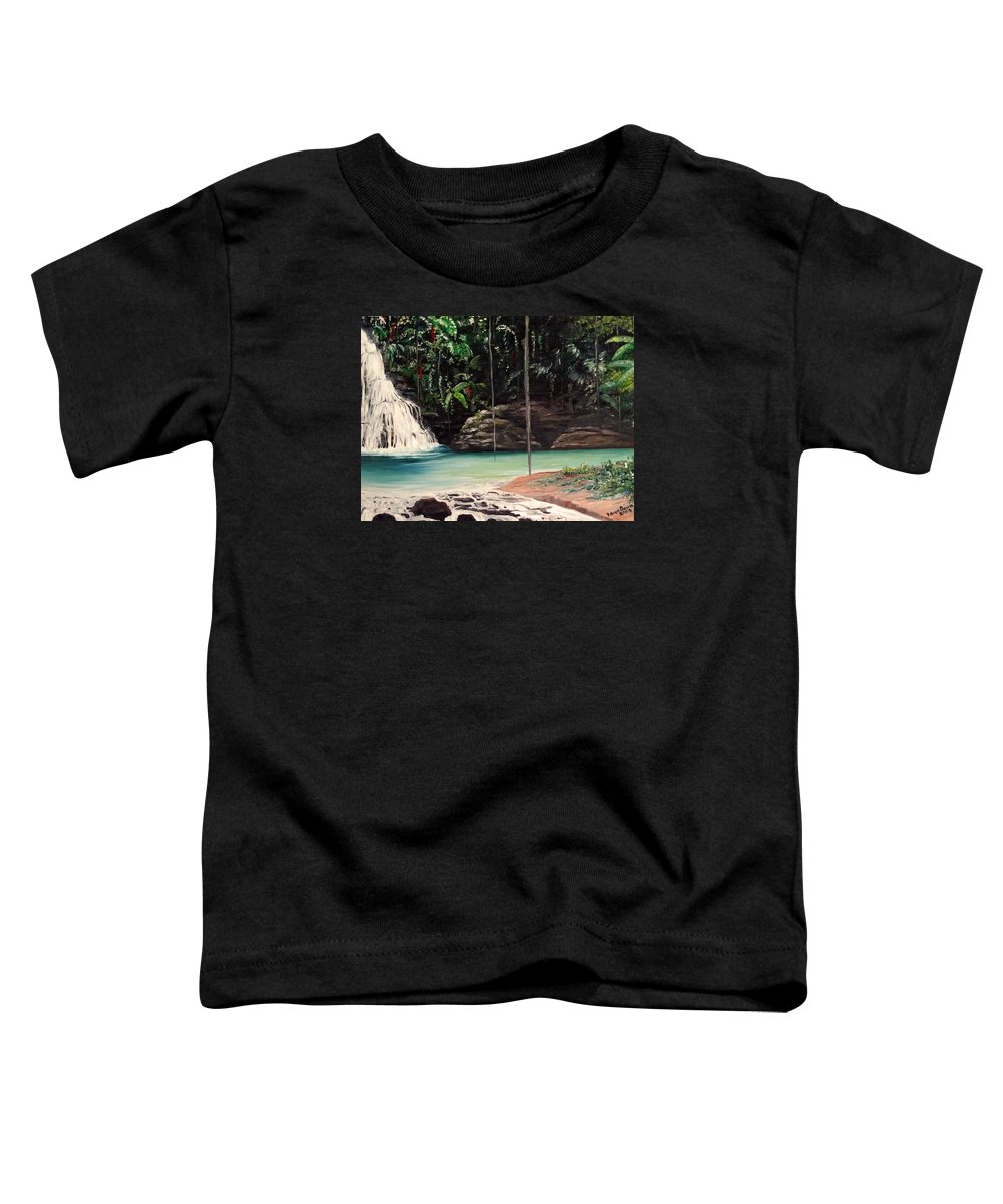 Tropical Waterfall Toddler T-Shirt featuring the painting Blue Basin by Karin Dawn Kelshall- Best