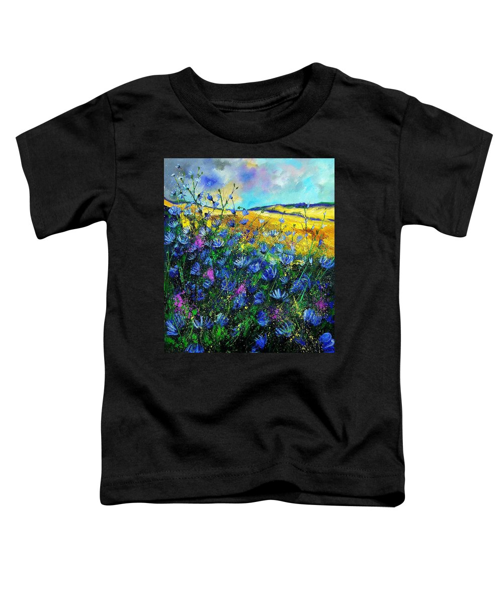 Flowers Toddler T-Shirt featuring the painting Blue Wild Chicorees by Pol Ledent