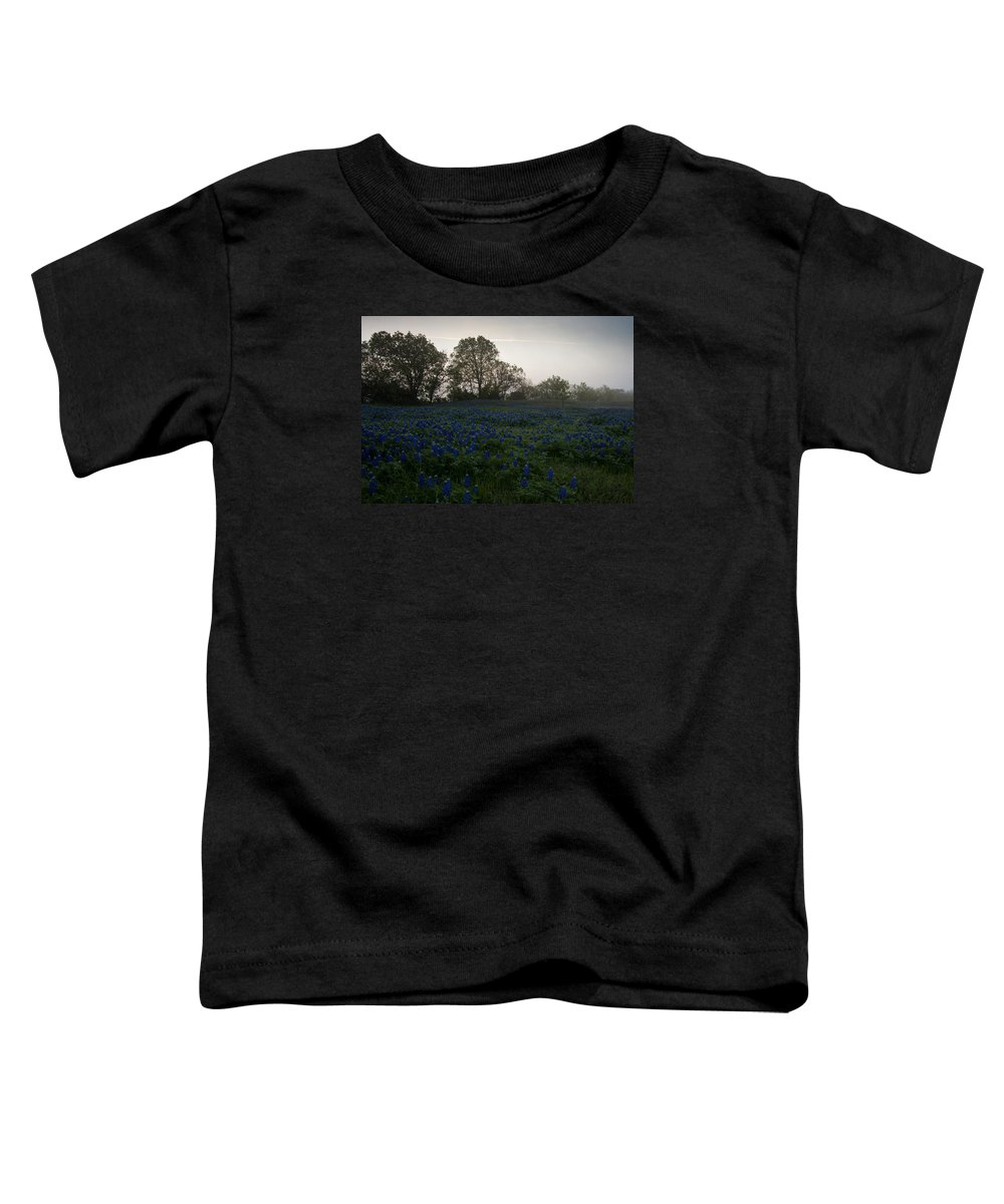 Bluebonnets Toddler T-Shirt featuring the photograph Bluebonnets On A Hazy Morning by Mark Alder