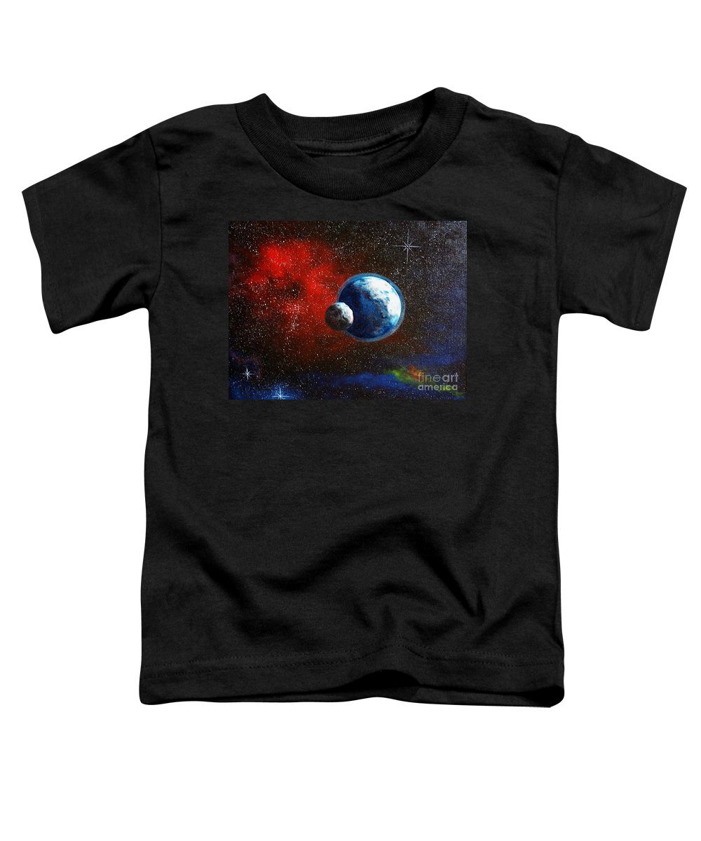 Astro Toddler T-Shirt featuring the painting Broken Moon by Murphy Elliott