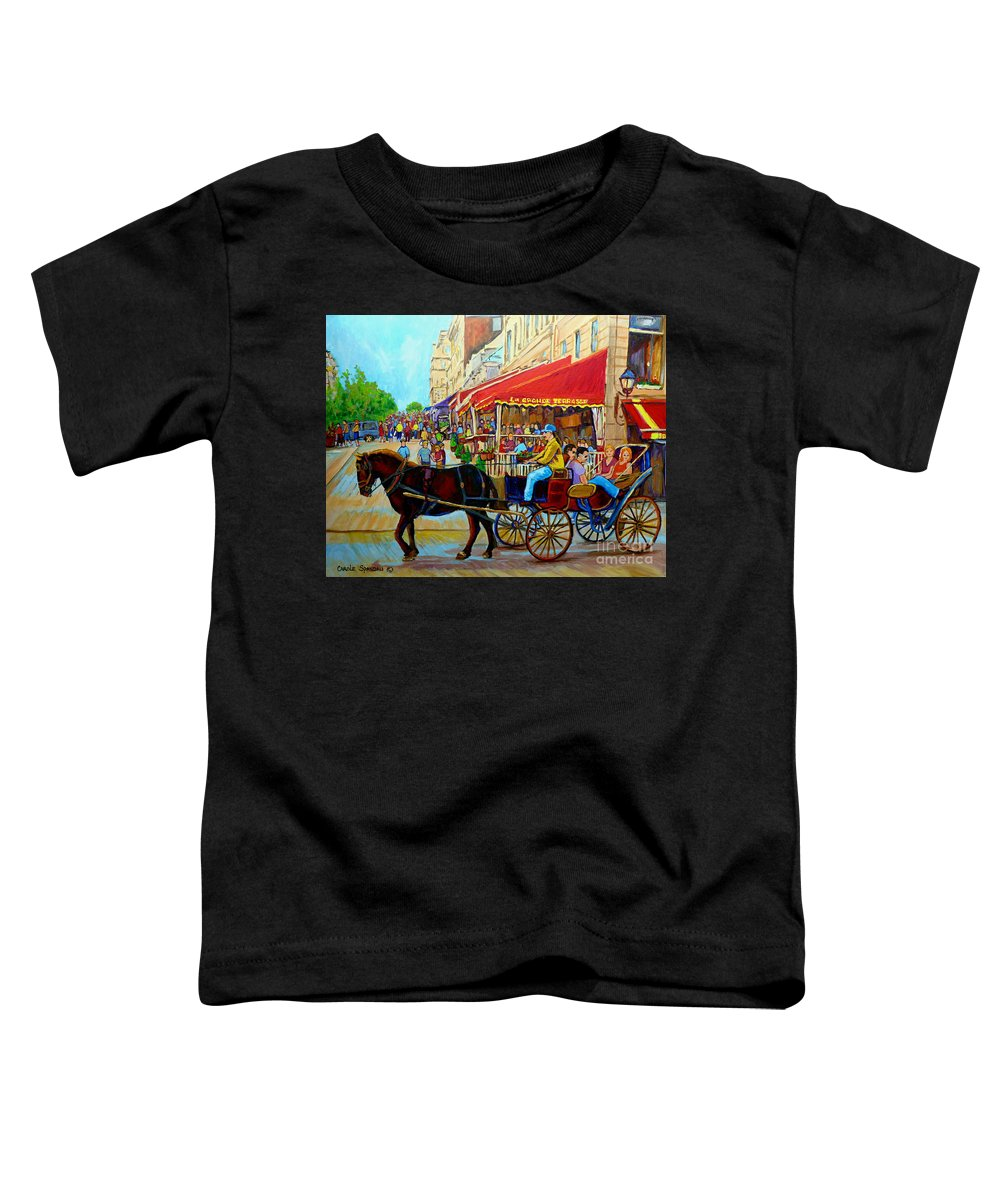 Cafe La Grande Terrasse Toddler T-Shirt featuring the painting Cafe La Grande Terrasse by Carole Spandau