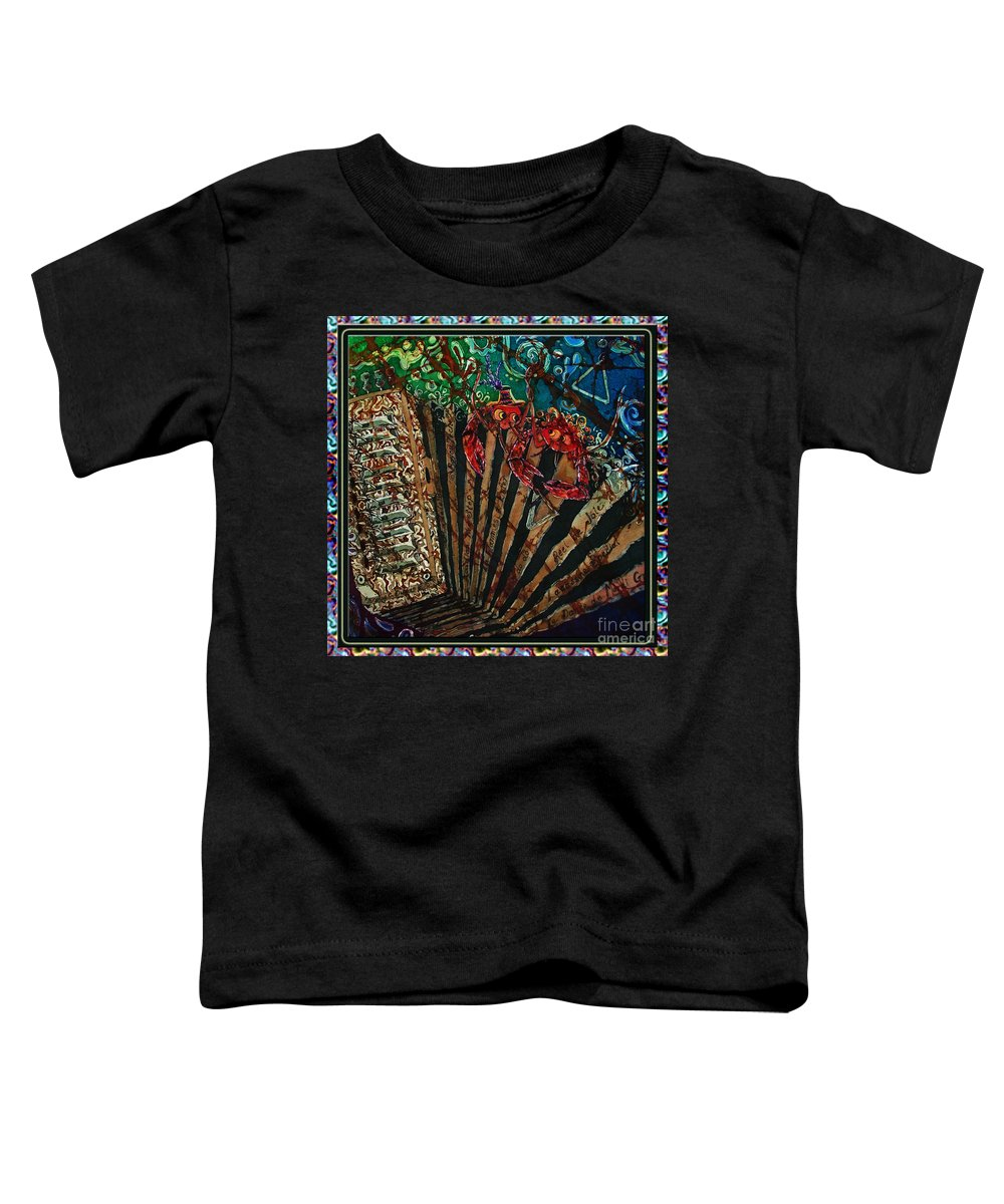 Acadian Toddler T-Shirt featuring the painting Cajun Accordian - Bordered by Sue Duda