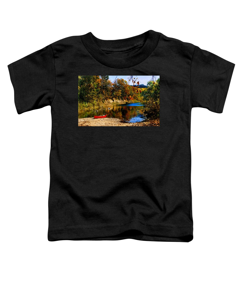 Autumn Toddler T-Shirt featuring the photograph Canoe On The Gasconade River by Steve Karol