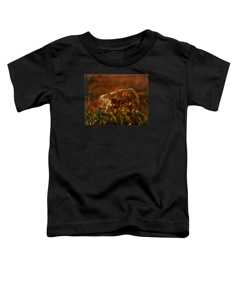 Rain;water;cats;africa;wildlife;animals;mother;shelter;brush;bush Toddler T-Shirt featuring the painting Cheetah Family After The Rains by Sean Connolly
