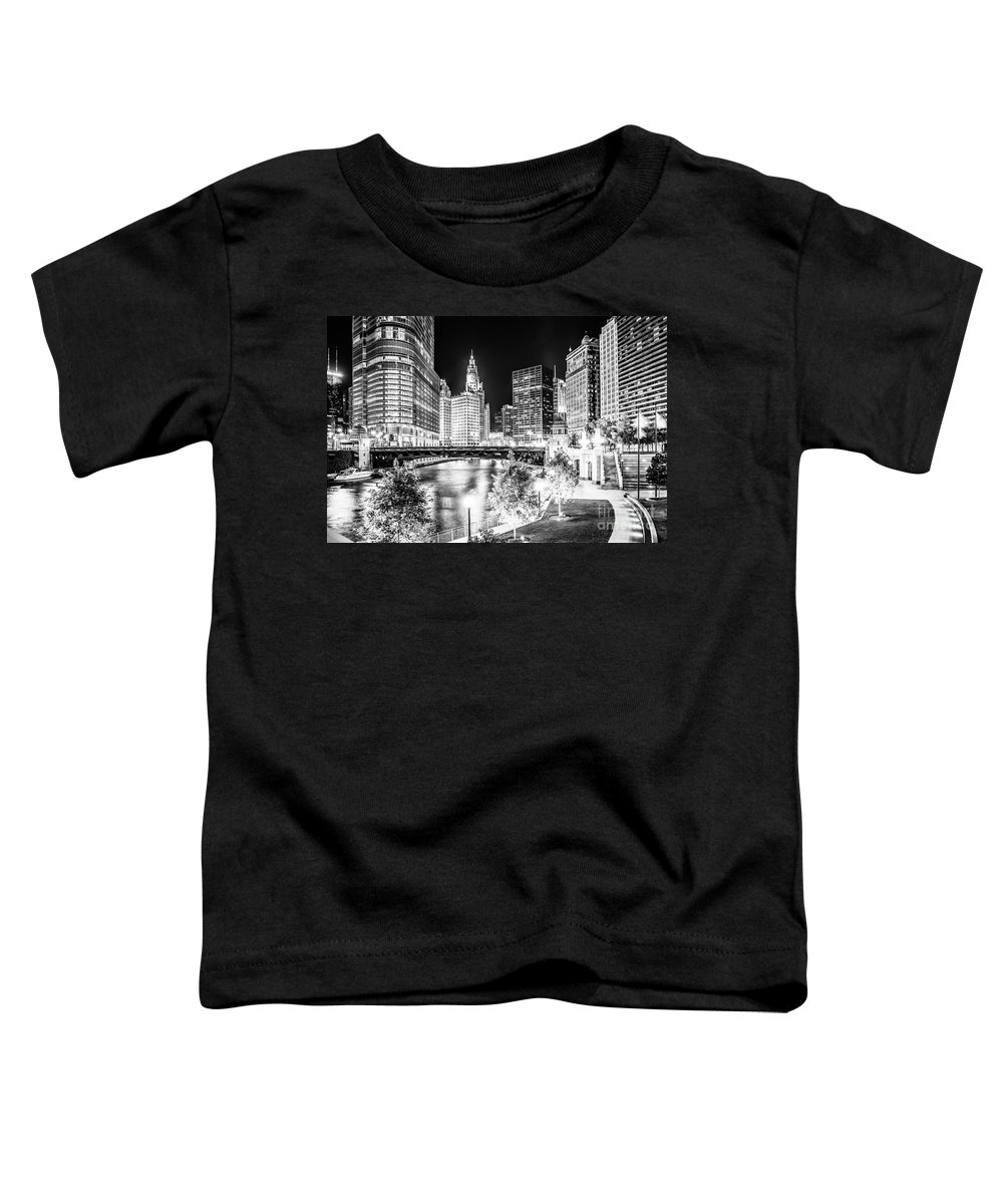 America Toddler T-Shirt featuring the photograph Chicago River Buildings at Night in Black and White by Paul Velgos