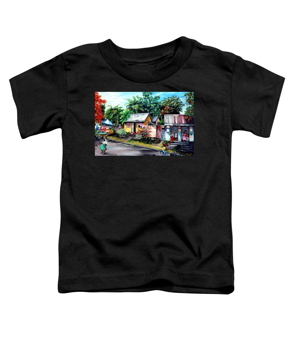 Landscape Painting Caribbean Painting Shop Trinidad Tobago Poinciana Painting Market Caribbean Market Painting Tropical Painting Toddler T-Shirt featuring the painting Chins Parlour   by Karin Dawn Kelshall- Best