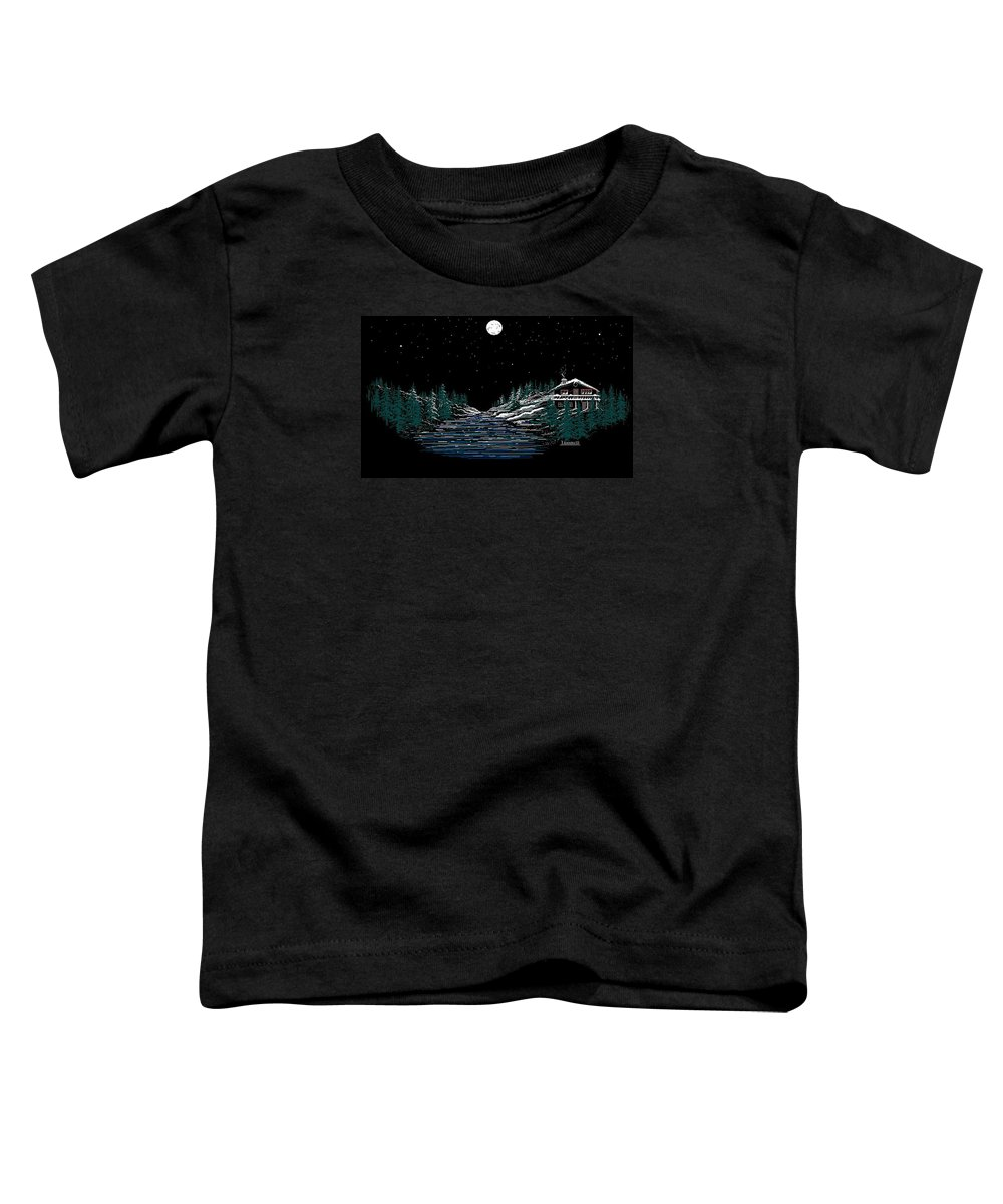 Cold Mountain Winter Toddler T-Shirt featuring the digital art Cold Mountain Winter by Larry Lehman