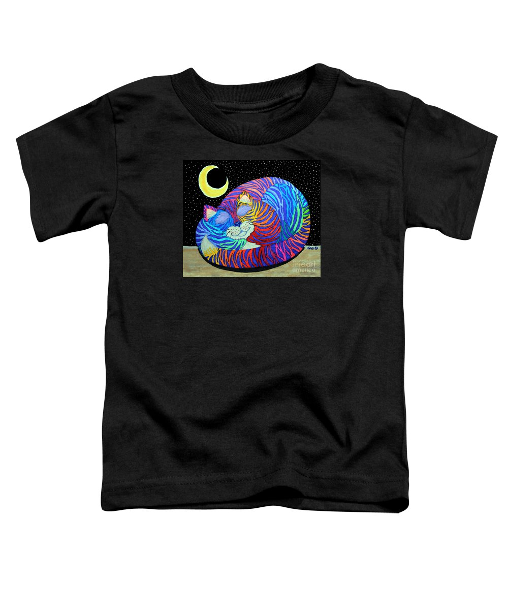 Cat Toddler T-Shirt featuring the drawing Colorful Striped Cat In The Moonlight by Nick Gustafson