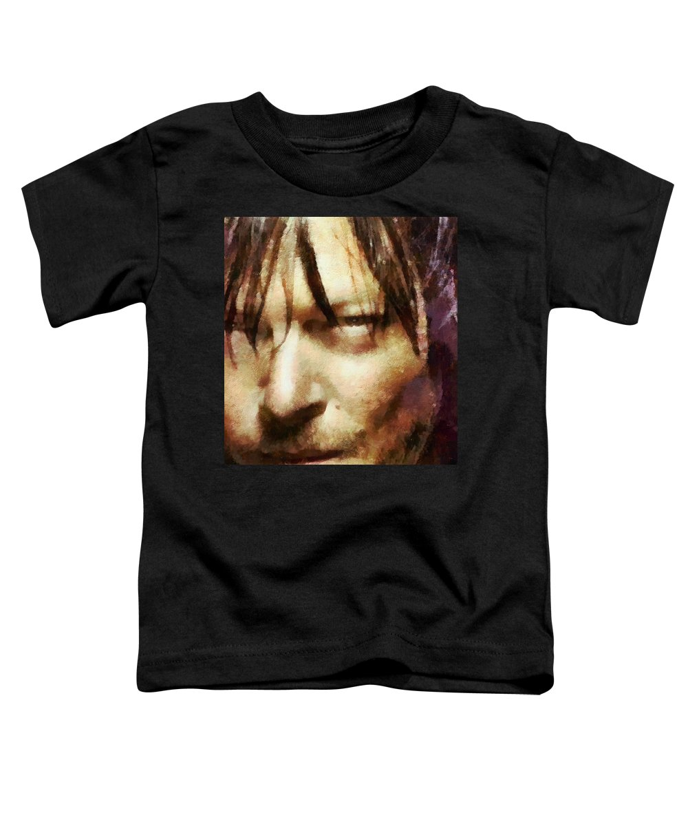Daryl Dixon Toddler T-Shirt featuring the painting Detail Of Daryl Dixon by Janice MacLellan