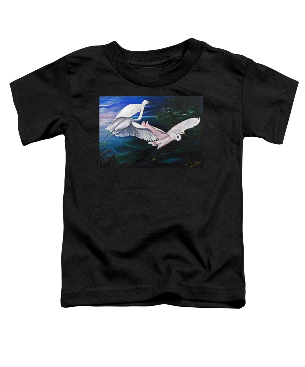 Snowy Egrets Toddler T-Shirt featuring the painting Early Flight by Karin Dawn Kelshall- Best