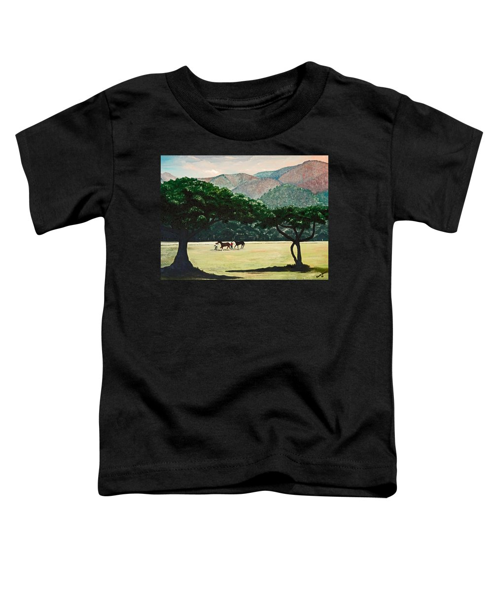 Trees Toddler T-Shirt featuring the painting Early Morning Savannah by Karin Dawn Kelshall- Best