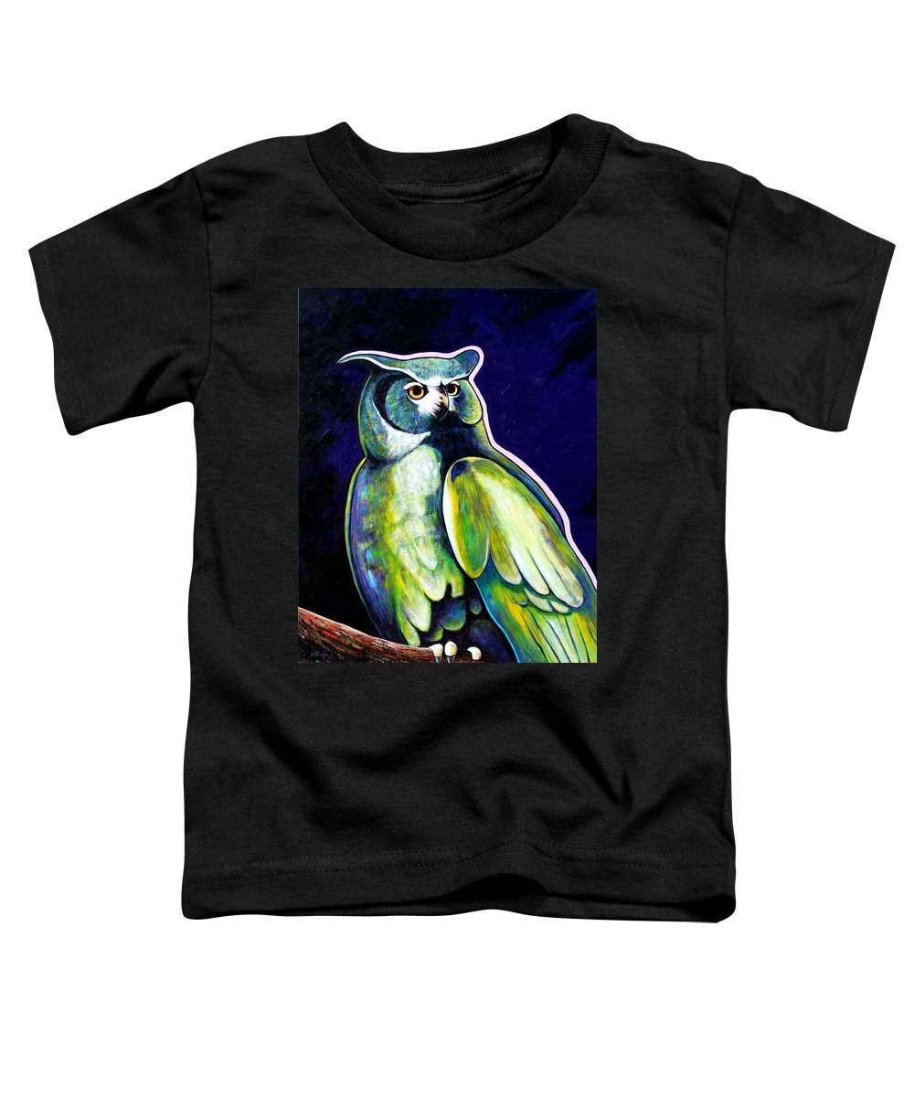 Owl Toddler T-Shirt featuring the painting From The Shadows by Joe Triano
