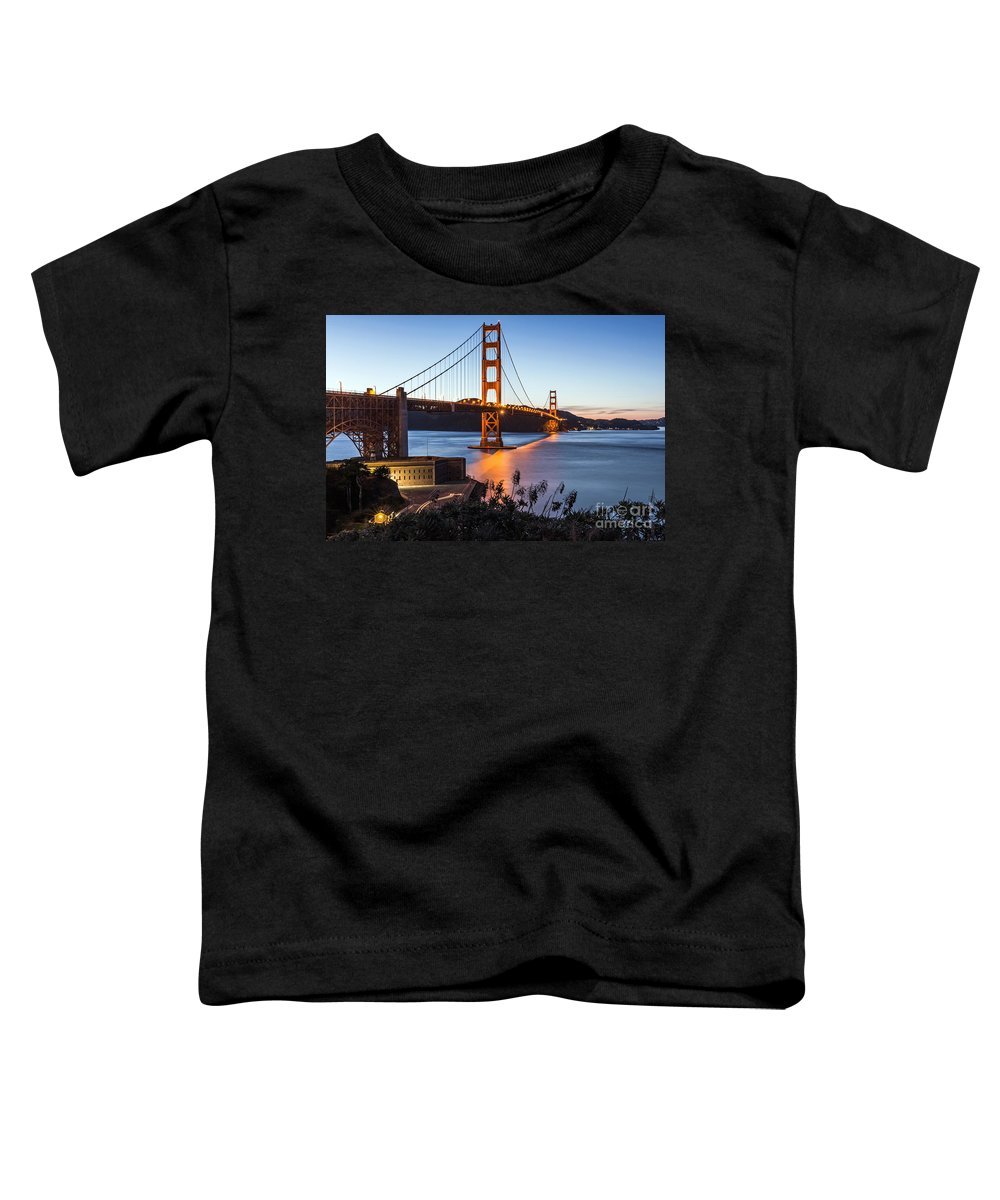 Golden Gate Bridge Toddler T-Shirt featuring the photograph Golden Gate Night by Kate Brown