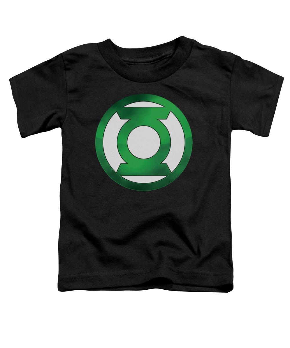 Green Lantern Toddler T-Shirt featuring the digital art Green Lantern - Green Chrome Logo by Brand A