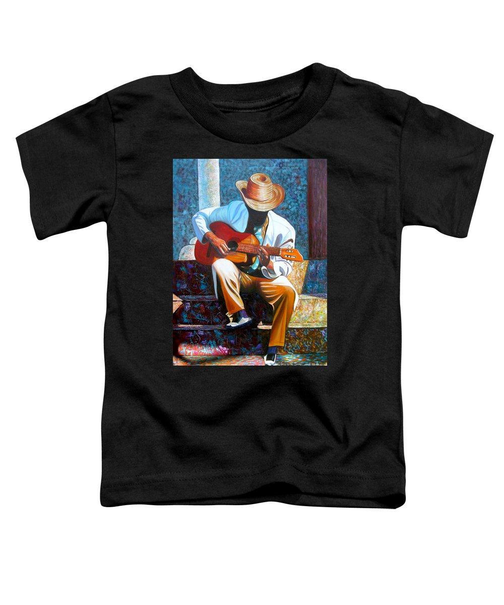 Cuban Art Toddler T-Shirt featuring the painting Guitar by Jose Manuel Abraham