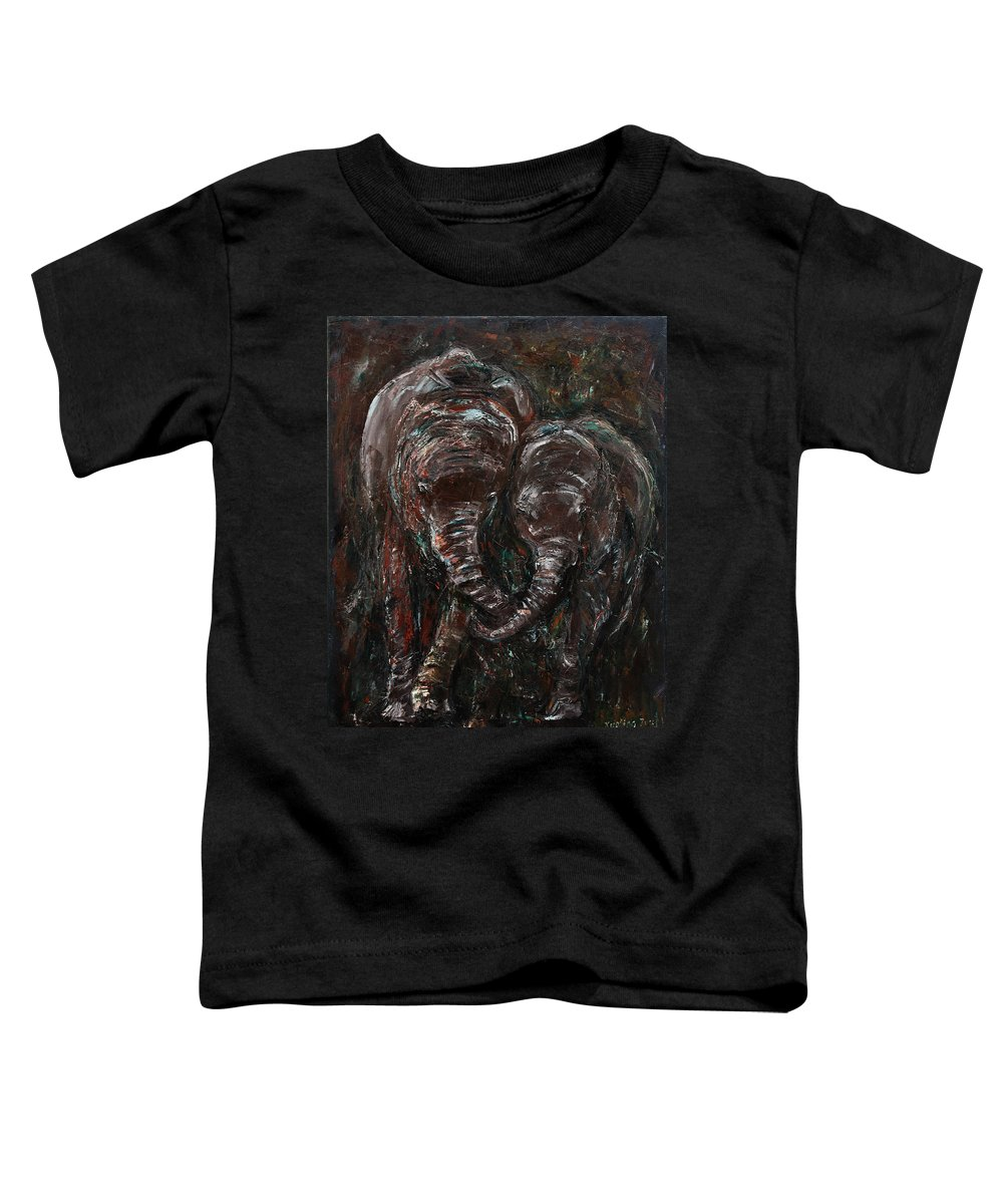 Elephants Toddler T-Shirt featuring the painting Hand in Hand by Xueling Zou