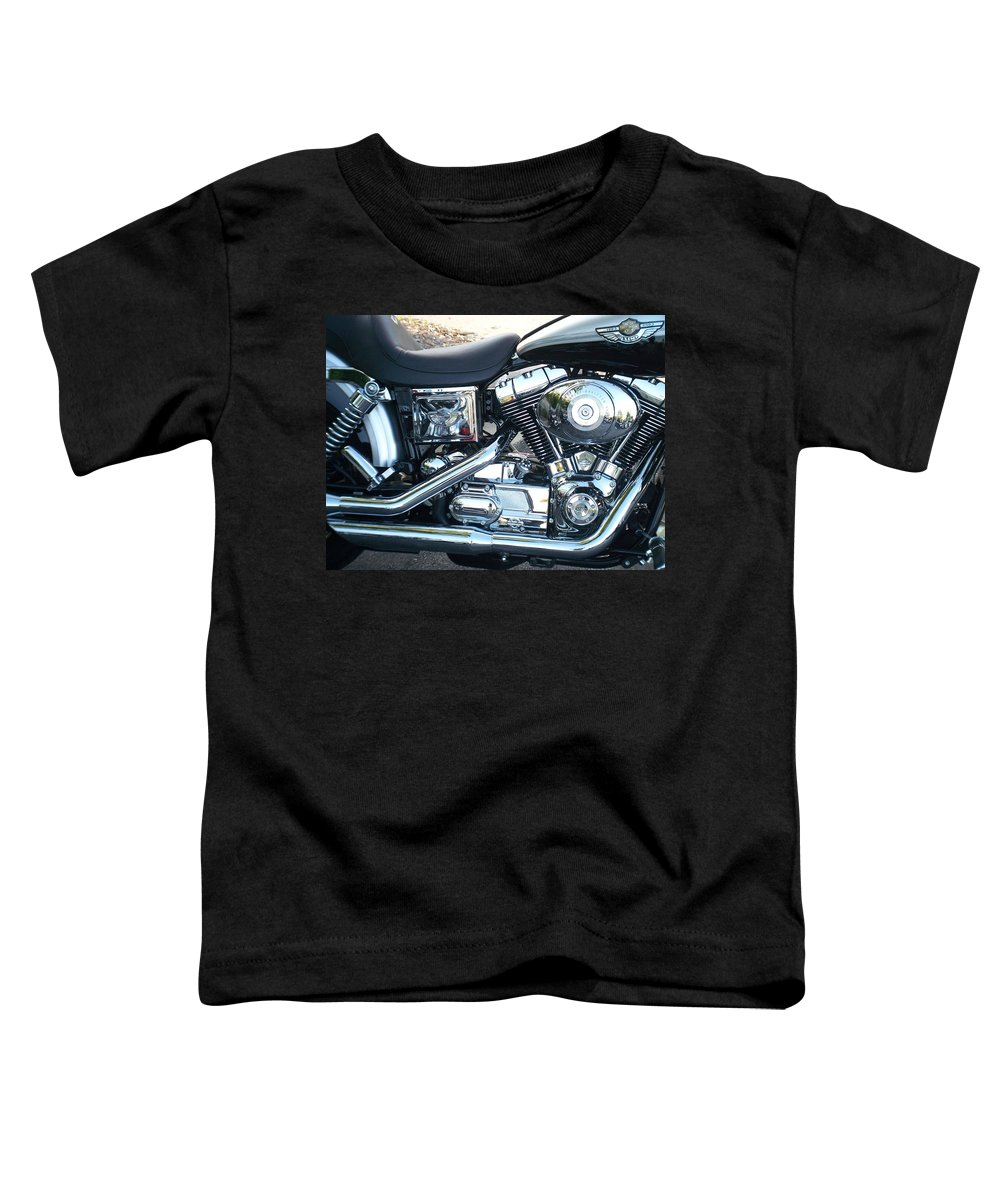 Motorcycles Toddler T-Shirt featuring the photograph Harley Black And Silver Sideview by Anita Burgermeister
