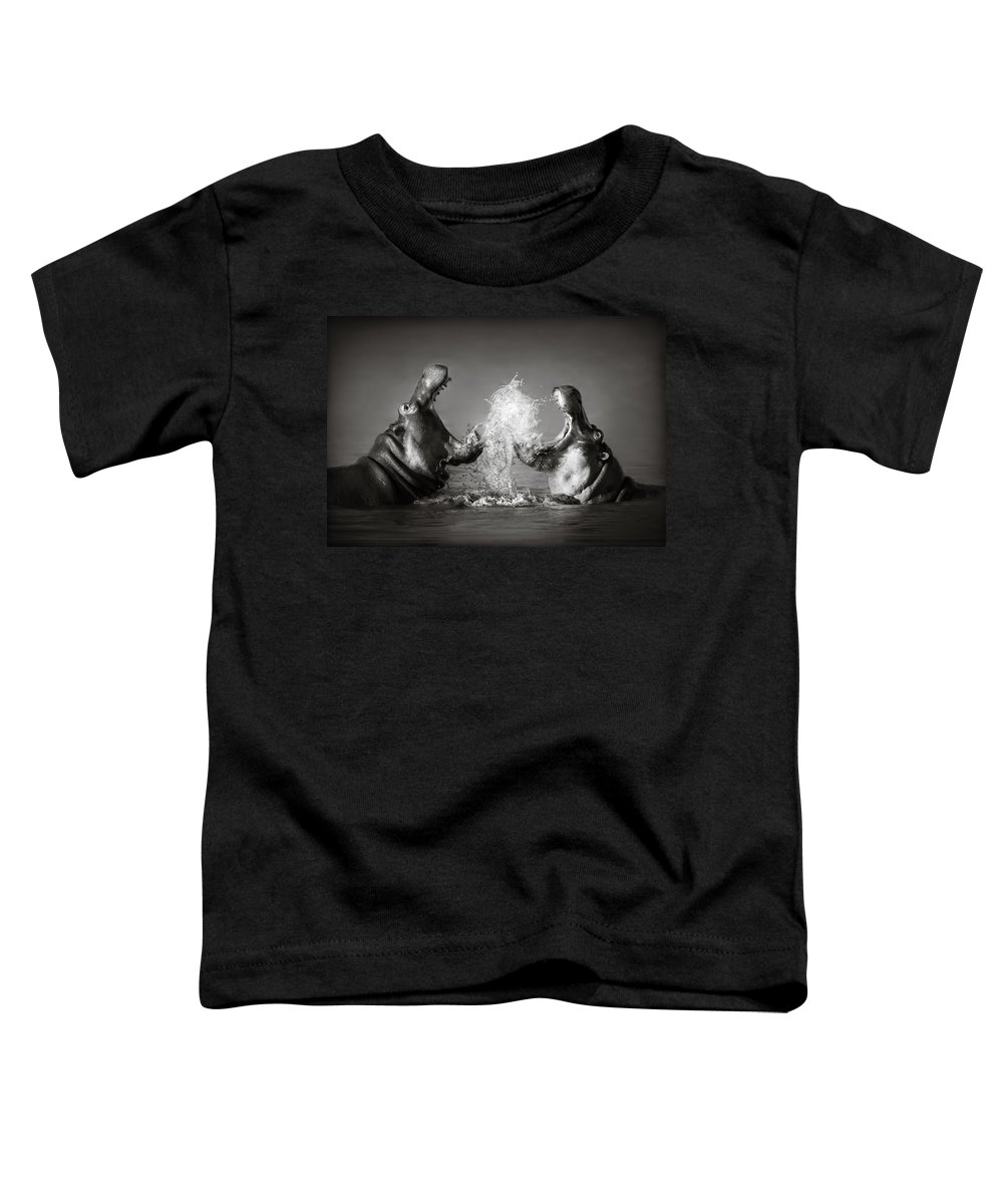 Hippo Toddler T-Shirt featuring the photograph Hippo's Fighting by Johan Swanepoel
