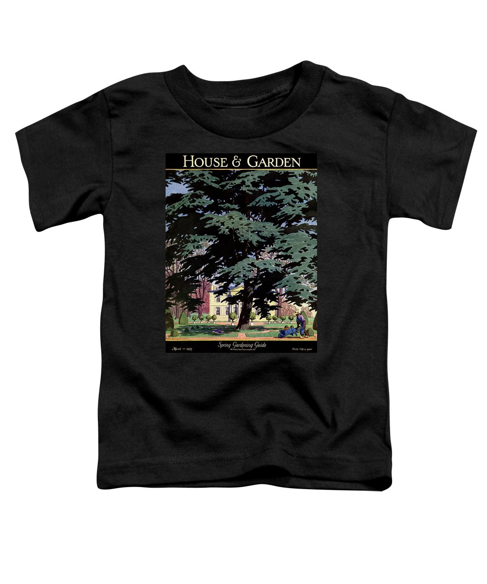 House And Garden Toddler T-Shirt featuring the photograph House And Garden Spring Gardening Guide Cover by Pierre Brissaud
