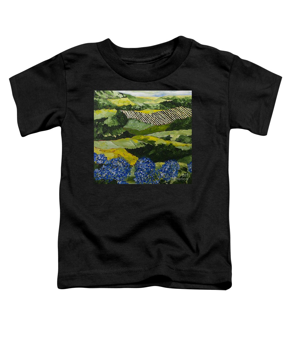 Landscape Toddler T-Shirt featuring the painting Hydrangea Valley by Allan P Friedlander