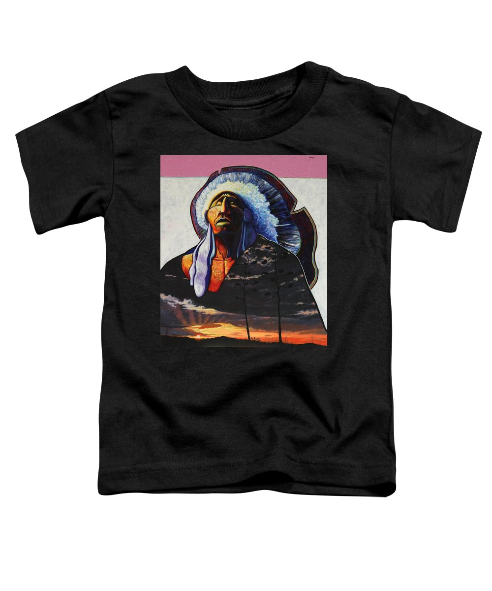 Native American Toddler T-Shirt featuring the painting Make Me Worthy by Joe Triano