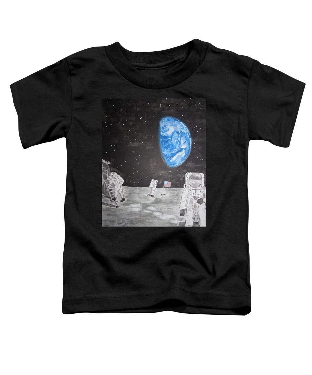 Stars Toddler T-Shirt featuring the painting Man On The Moon by Kathy Marrs Chandler