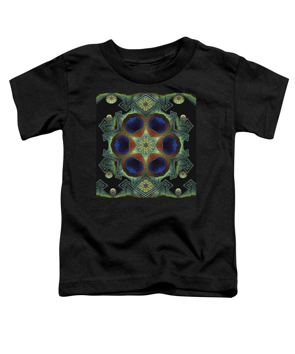 Mandala Toddler T-Shirt featuring the digital art Mandala Peacock by Nancy Griswold