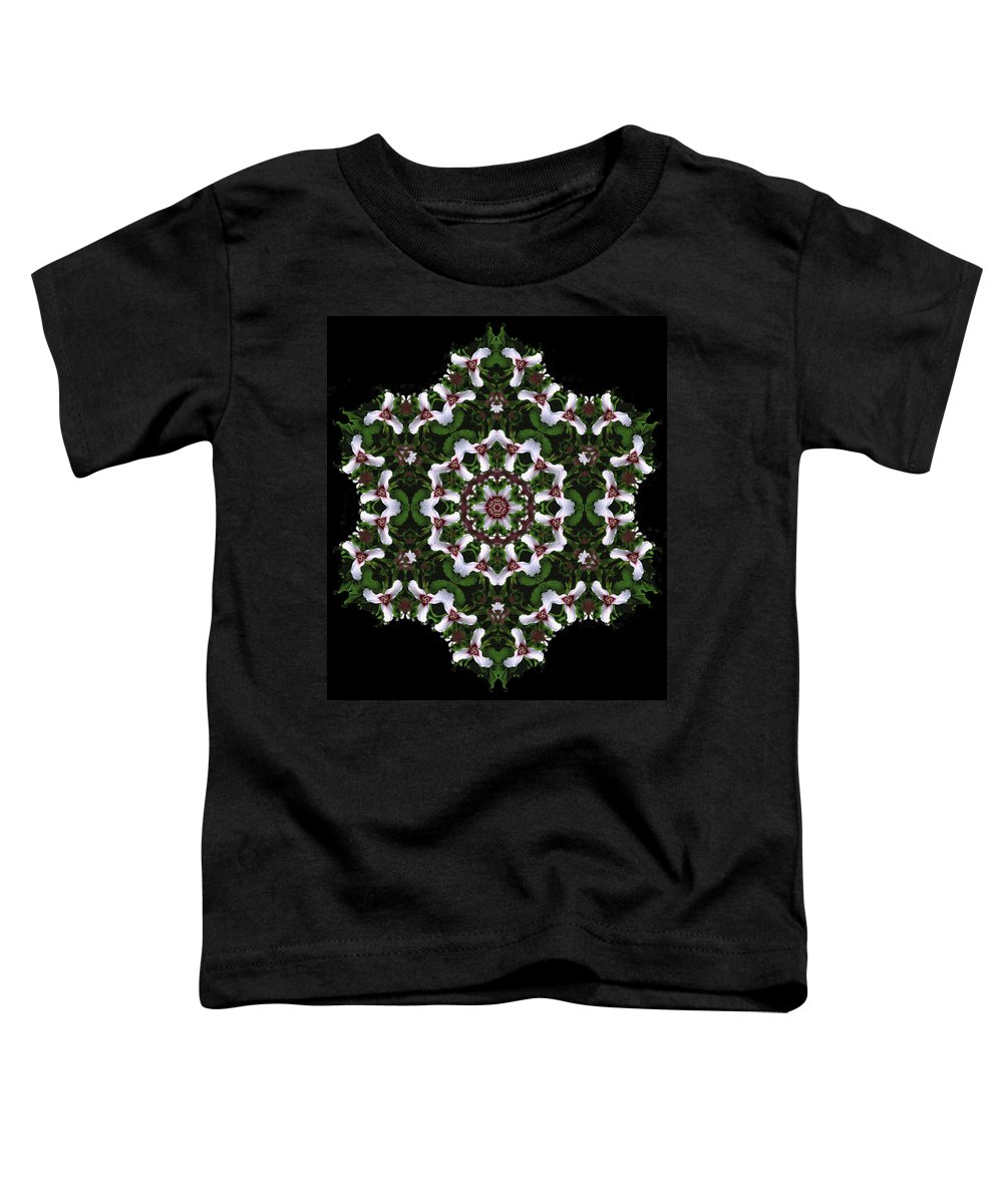 Mandala Toddler T-Shirt featuring the digital art Mandala Trillium Holiday by Nancy Griswold