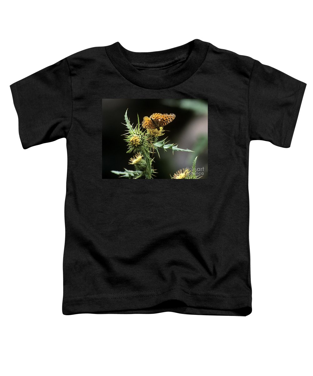 Butterfly Toddler T-Shirt featuring the photograph Monarch On Thistle by Kathy McClure